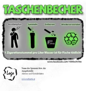 Etikett-Rohentwurf eines TAschenbechers